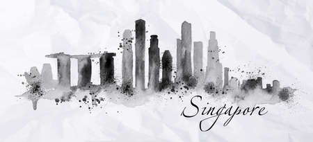 Illustration pour Silhouette ink Singapore city painted with splashes of ink drops streaks landmarks drawing in black ink on crumpled paper. - image libre de droit