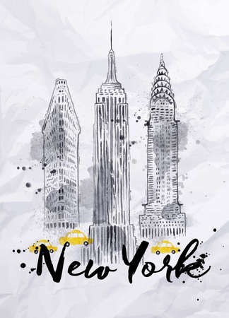 Illustration pour Watercolor New York skyscrapers Empire State Building Chrysler Building in vintage style drawing with drops and splashes on crumpled paper - image libre de droit