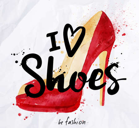 Photo pour Watercolor poster lettering i love shoes drawing in vintage style on crumpled paper. - image libre de droit