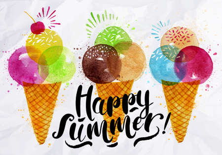 Illustration for Poster watercolor ice cream cones different colors lettering happy summer drawing on crumpled paper - Royalty Free Image