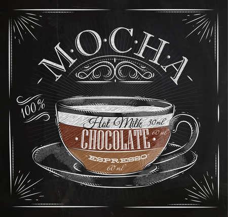 Ilustración de Poster coffee mocha in vintage style drawing with chalk on the blackboard - Imagen libre de derechos