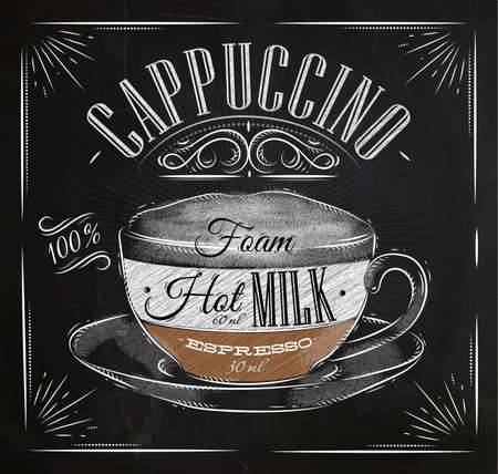 Illustration for Poster coffee cappuccino in vintage style drawing with chalk on the blackboard - Royalty Free Image
