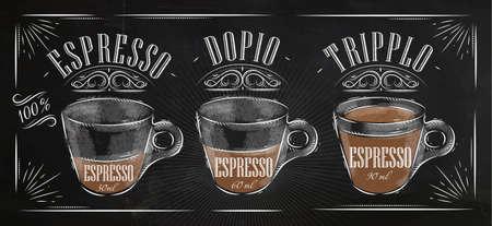 Ilustración de Poster coffee espresso in vintage style drawing with chalk on the blackboard - Imagen libre de derechos