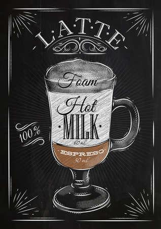 Ilustración de Poster coffee latte in vintage style drawing with chalk on the blackboard - Imagen libre de derechos