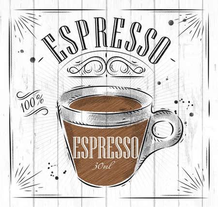 Ilustración de Poster coffee espresso in vintage style drawing on wood background - Imagen libre de derechos