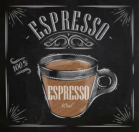 Photo pour Poster coffee espresso in vintage style drawing with chalk on the blackboard - image libre de droit