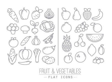 Photo for Set of flat fruits and vegetables icons drawing with black lines on white background - Royalty Free Image