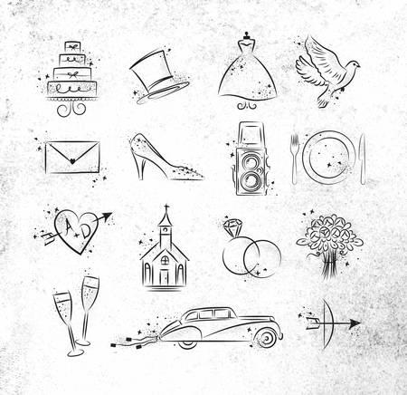 Foto de Set of wedding icons theme drawing with black ink on dirty paper - Imagen libre de derechos
