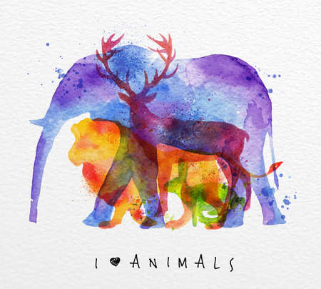 Ilustración de Color animals ,elephant, deer, lion, rabbit, drawing overprint on watercolor paper background lettering I love animals - Imagen libre de derechos