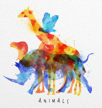 Photo pour Color animals ,bird, rhino, giraffe, camel, drawing overprint on watercolor paper background lettering animals - image libre de droit