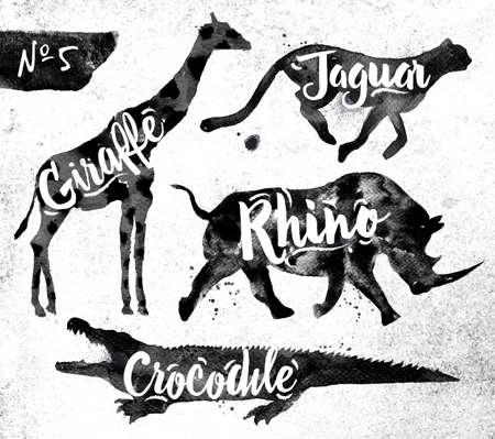 Ilustración de Silhouettes of animal giraffe, rhino, crocodile, cheetah drawing black paint on background of dirty paper - Imagen libre de derechos