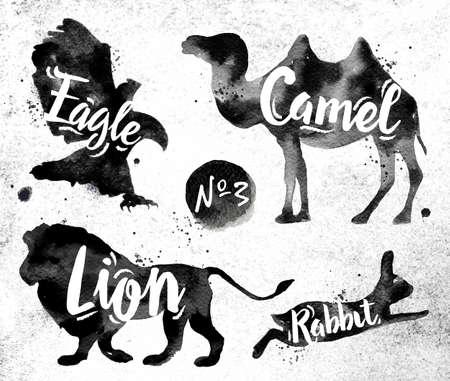 Illustration pour Silhouettes of animal camel, eagle, lion, rabbit drawing black paint on background of dirty paper - image libre de droit