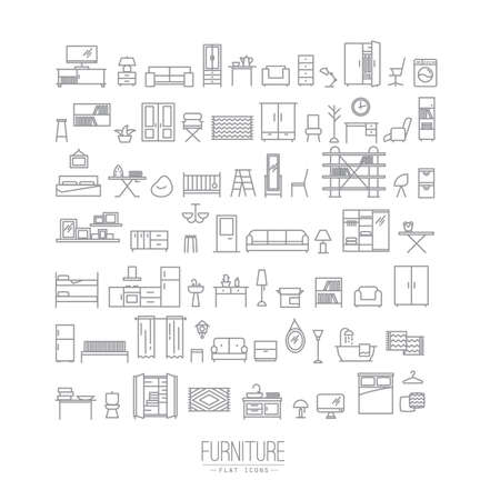 Illustration for Furniture and home decor icon set in modern flat style drawing with grey lines on white background - Royalty Free Image
