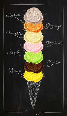 Illustration for Ice cream cone menu with different kinds of ice cream in retro style lettering i love ice cream drawing with chalk on chalkboard background - Royalty Free Image