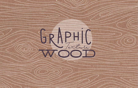 Illustration for Wood graphic texture drawing with grey lines on brown background - Royalty Free Image
