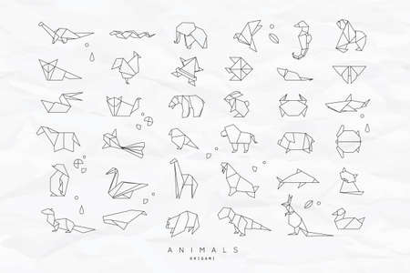 Photo pour Set of animals white in flat style origami snake, elephant, bird, seahorse, frog, fox, mouse, butterfly, pelican, wolf, bear, rabbit, crab, monkey, pig, turtle, kangaroo on crumpled paper background - image libre de droit