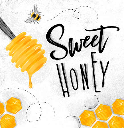 Illustration pour Poster illustrated honey spoon, honeycombs lettering sweet honey drawing on dirty paper background - image libre de droit