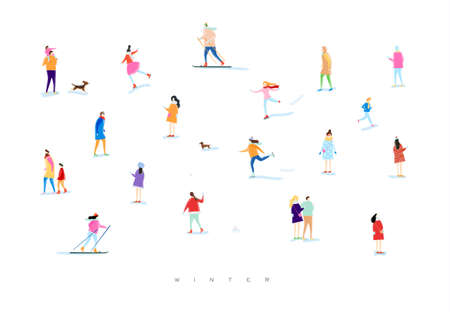 Illustration pour Illustrated people on a winter walk, playing snowball, skiing, skating, playing with kid and dog, lovers walk drawing with color on white background - image libre de droit