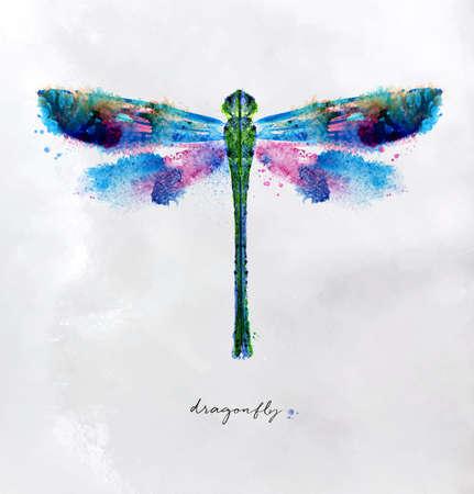 Ilustración de Monotype vivid colorful dragonfly drawing with different colors on paper. - Imagen libre de derechos