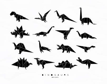 Illustration pour Set of dinosaurs in flat origami style vector illustration - image libre de droit