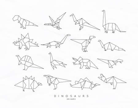 Photo pour Set of dinosaurs in flat origami style vector illustration - image libre de droit