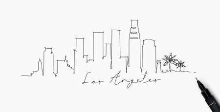 Illustration pour City silhouette los angeles in pen line style drawing with black lines on white background - image libre de droit