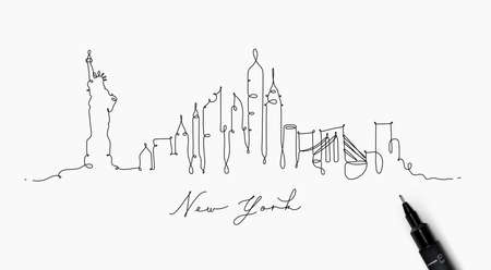 Illustration pour City silhouette new york in pen line style drawing with black lines on white background - image libre de droit