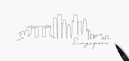 Illustration pour City silhouette singapore in pen line style drawing with black lines on white background - image libre de droit
