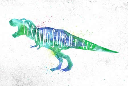 Ilustración de Dinosaur poster lettering tyranosaurus rex drawing with color, vivid paint on dirty paper background. - Imagen libre de derechos