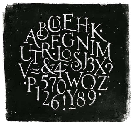 Illustration for Vintage font in retro style drawing with chalk on chalkboard background. - Royalty Free Image