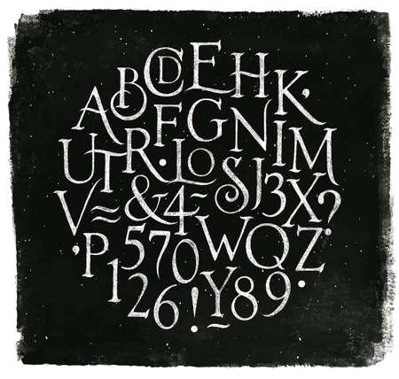 Ilustración de Vintage font in retro style drawing with chalk on chalkboard background. - Imagen libre de derechos