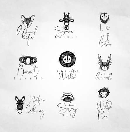 Illustration pour Set of animals authentic graphic signs fox, giraffe, owl, panda, lion, antelope, horse, cat, monkey with lettering drawing on dirty background - image libre de droit