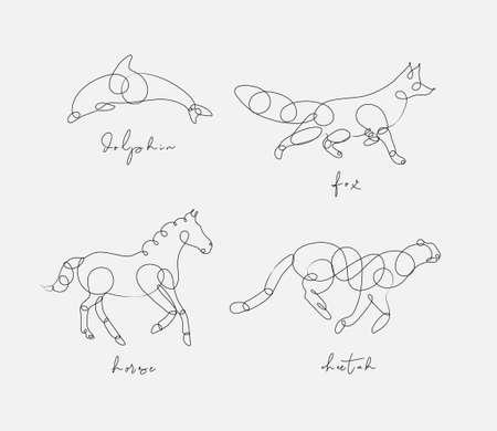 Ilustración de Set of animals dolphin, fox, horse, cheetah drawing in pen line style on light background - Imagen libre de derechos