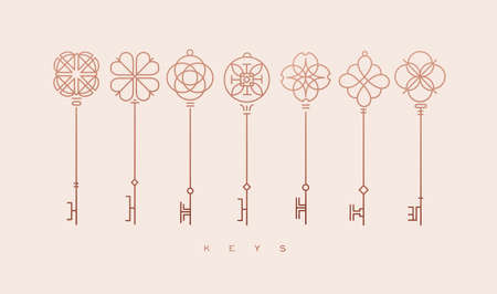 Illustration for Set of key collection in modern line style drawing on beige background. - Royalty Free Image