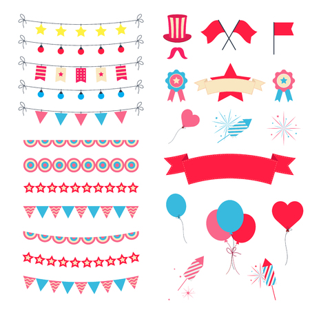 Photo for Party And Celebration Design Elements collection. Festive Event and Show icons set. Birthday objects. With carnival masks, petards, fireworks, flags, streamers - Royalty Free Image