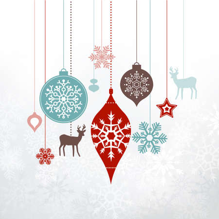 Ilustración de Christmas decorations, ornaments. Silver frosty background - frozen snowlakes. Can be used as a greetings card. - Imagen libre de derechos