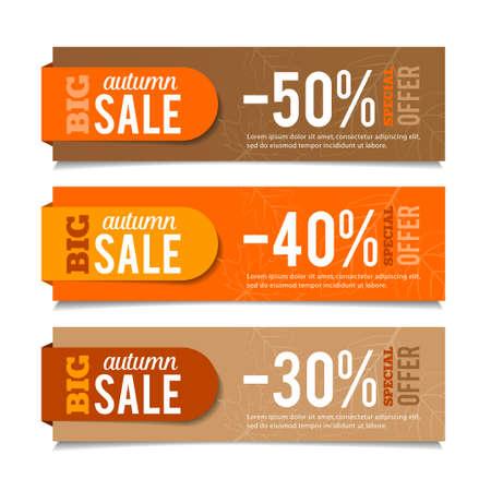 Illustration pour Autumn sales banners, seasonal advertising, marketing events. For web or print. Vector graphic. - image libre de droit