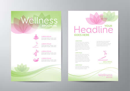 Ilustración de Wellness brochure template - for relaxation, healthcare, medical topics. - Imagen libre de derechos