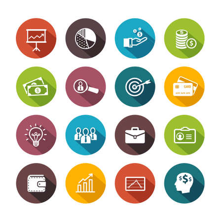 Illustration pour Business icons symbolizing productivity, team work, human resources, management. Flat design style. - image libre de droit
