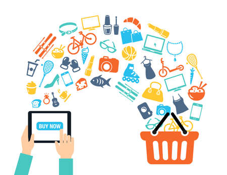 Illustration pour Shopping background concept with icons - shopping online, using a PC, tablet or a smartphone. Can be used to illustrate mobile communication topics or consumerism. - image libre de droit