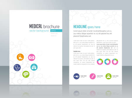 Illustration pour Brochure template - medical topics, healthcare, science, technology. - image libre de droit
