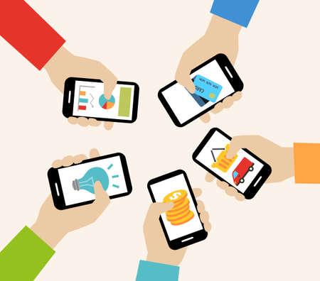 Illustration pour Mobile apps concept - social networking, online business, communication. - image libre de droit
