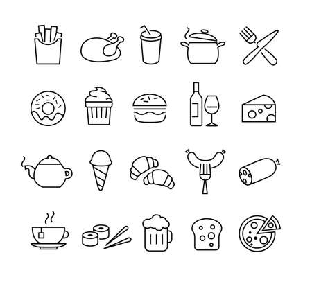 Ilustración de Collection of thin lines icons representing food and cooking. Suitable for print, web or mobile apps design. - Imagen libre de derechos