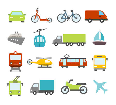 Foto de Collection of icons related to trasportation, cars and various vehicles - Imagen libre de derechos