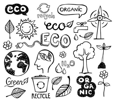 Ilustración de Eco and organic doodles - icons. Ecology, sustainable development, nature protection. - Imagen libre de derechos