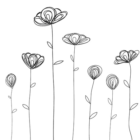 Illustration pour flowers doodle sketch isolated vector - image libre de droit