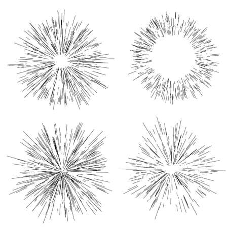 Ilustración de Sun burst, star burst sunshine. Radiating from the center of thin beams, lines. Design element for logo, signs. Dynamic style. Abstract explosion, speed motion lines from the middle, radiating sharp - Imagen libre de derechos