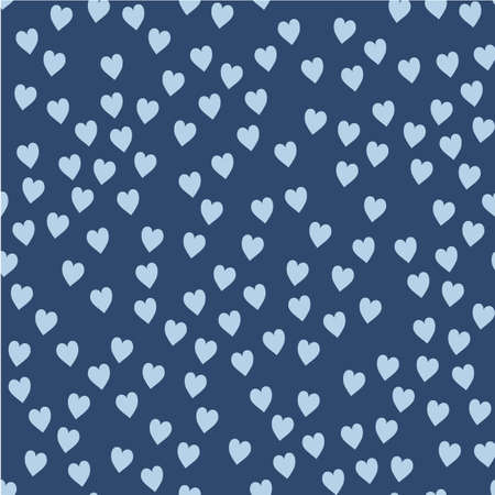 Illustration pour Vector seamless pattern. Randomly disposed hearts. Cute background for print on fabric, paper, scrapbooking. Modern graphic design. Hipster creative tileable print - image libre de droit