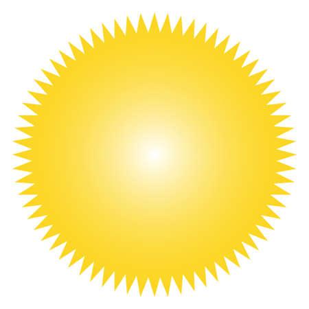 Ilustración de Icon of starburst, sunburst badge,label, sticker. Yellow color.  Simple flat style Vintage  design elements. Vector illustration - Imagen libre de derechos
