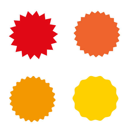 Ilustración de Set of starburst, sunburst badges, labels, stickers. Simple flat style. Vintage, retro. Design elements. A collection of different types icon. Vector illustration - Imagen libre de derechos